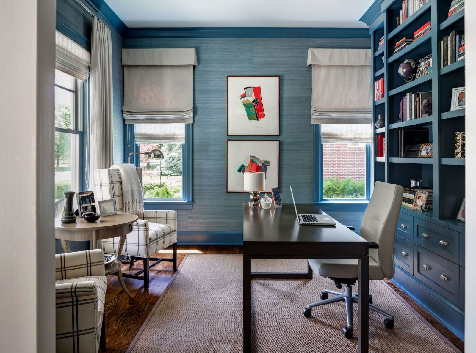 blue walls living room wallpaper for rooms ideas 53 stylish painted accent justin maconochie contrast crown molding