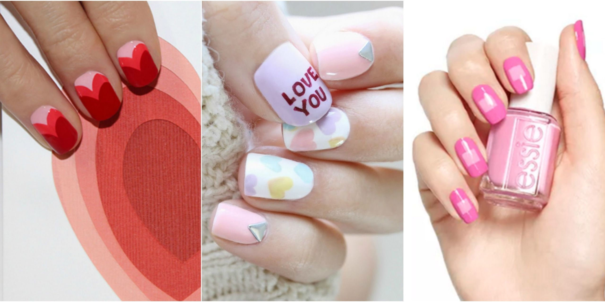 Wear Your Heart On Nails With One Of These Super Sweet Manicure Designs Bold Shapes Sugary Hearts And That Clic Red White Color Palette Will