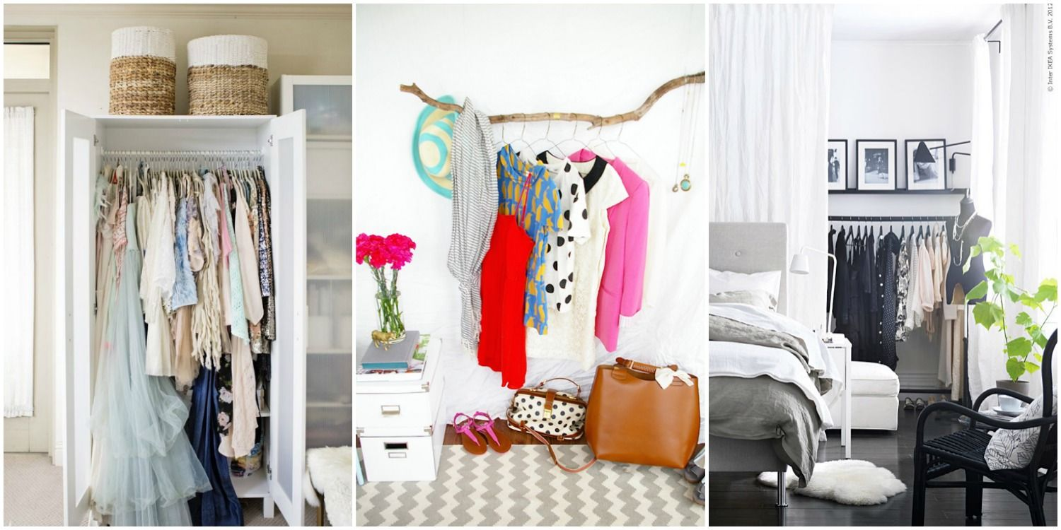 storage ideas for a bedroom without a closet - genius clothing