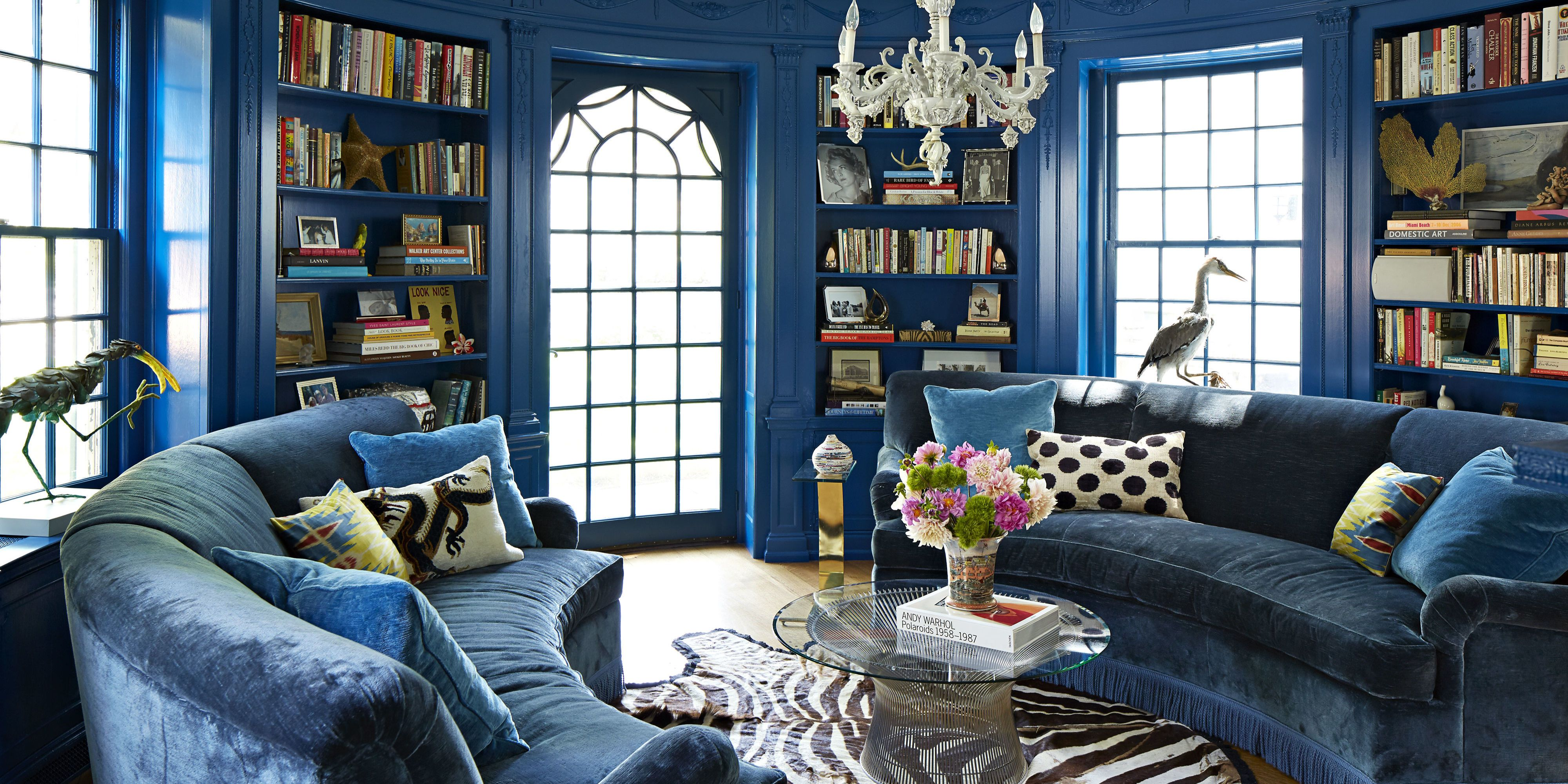 royal blue living room chairs black and red decor janet gridley designs a colorful colonial home - inside ...