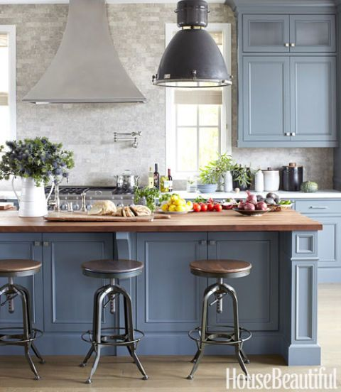 kitchen deco ranges gas blue and white decor inspiration hello lovely the is a favorite place to host casual lunches dinners