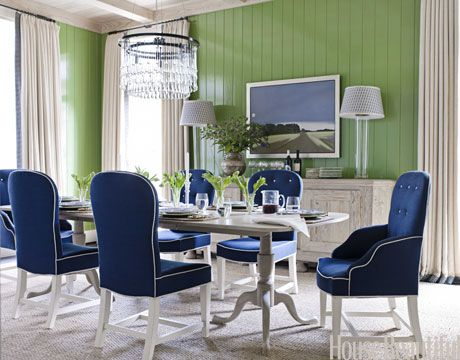blue and green dining