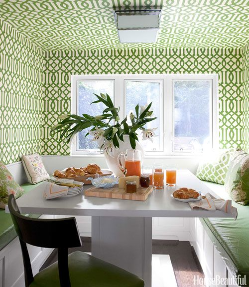 kitchen table nook aldo cabinet 30 breakfast ideas furniture green trellis wallpaper
