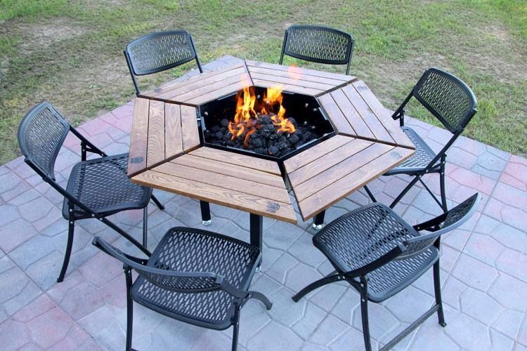 fire pit is a grill and dining table