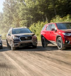 three row suvs compared subaru ascent and chevrolet traverse take on our reigning champ the mazda cx 9 [ 2250 x 1375 Pixel ]
