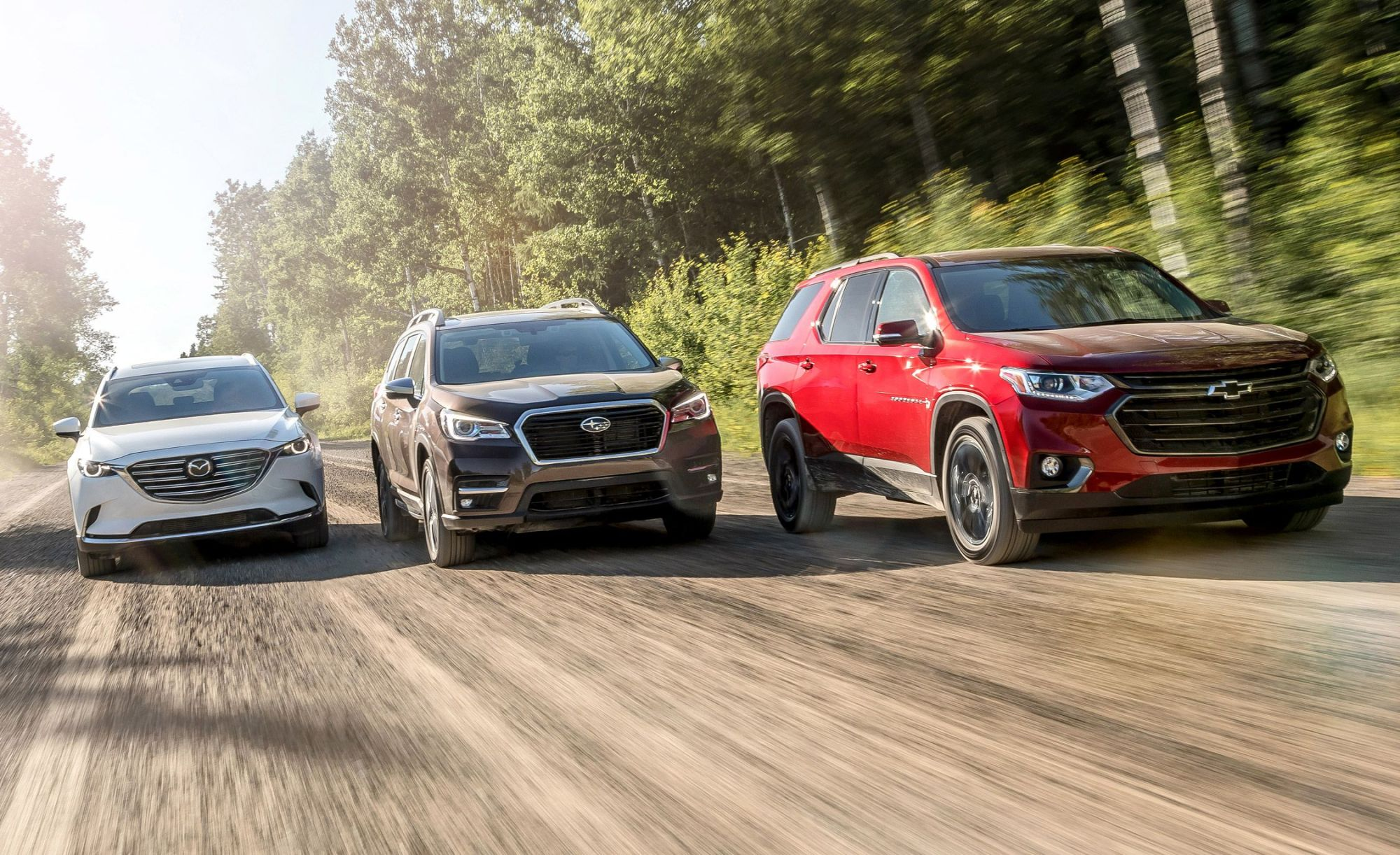 hight resolution of three row suvs compared subaru ascent and chevrolet traverse take on our reigning champ the mazda cx 9