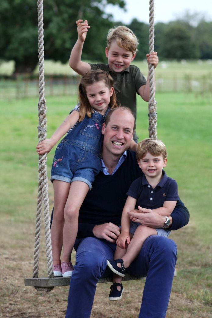 kate middleton has shared two new photos of her family to celebrate father's day in the new snaps, which were taken by the duchess of cambridge, prince william pose with all three of her children, the prince george, the princess charlotte, and prince louis