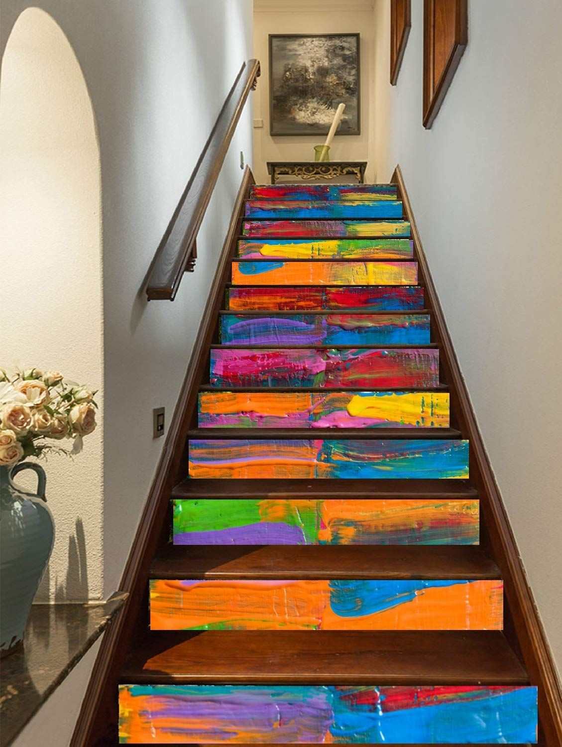 15 Of The Best Staircase Stickers And Tile Decals On Amazon | Best Hardwood For Stairs | Treads | Oak | Stair Tread | Stain | Laminate Flooring