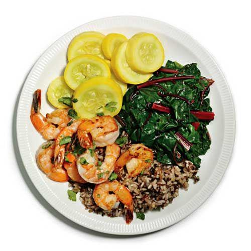 Cilantro Shrimp with Squash, Chard, and Wild Rice