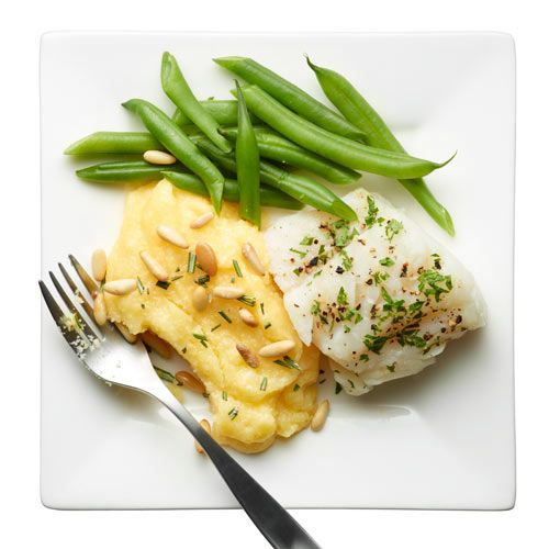 Cod with Rosemary Polenta and Beans