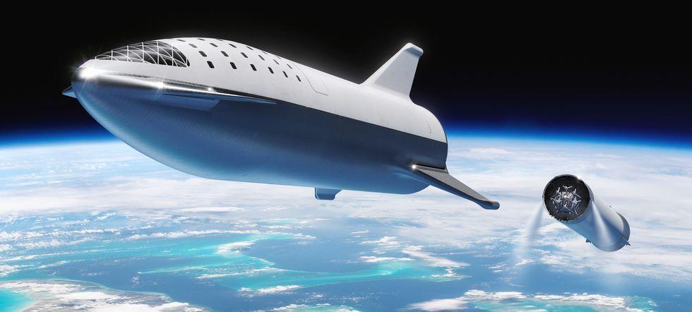 Elon Musk Car In Spac Wallpaper Elon Musk Renames Big Falcon Rocket Starship Via Twitter