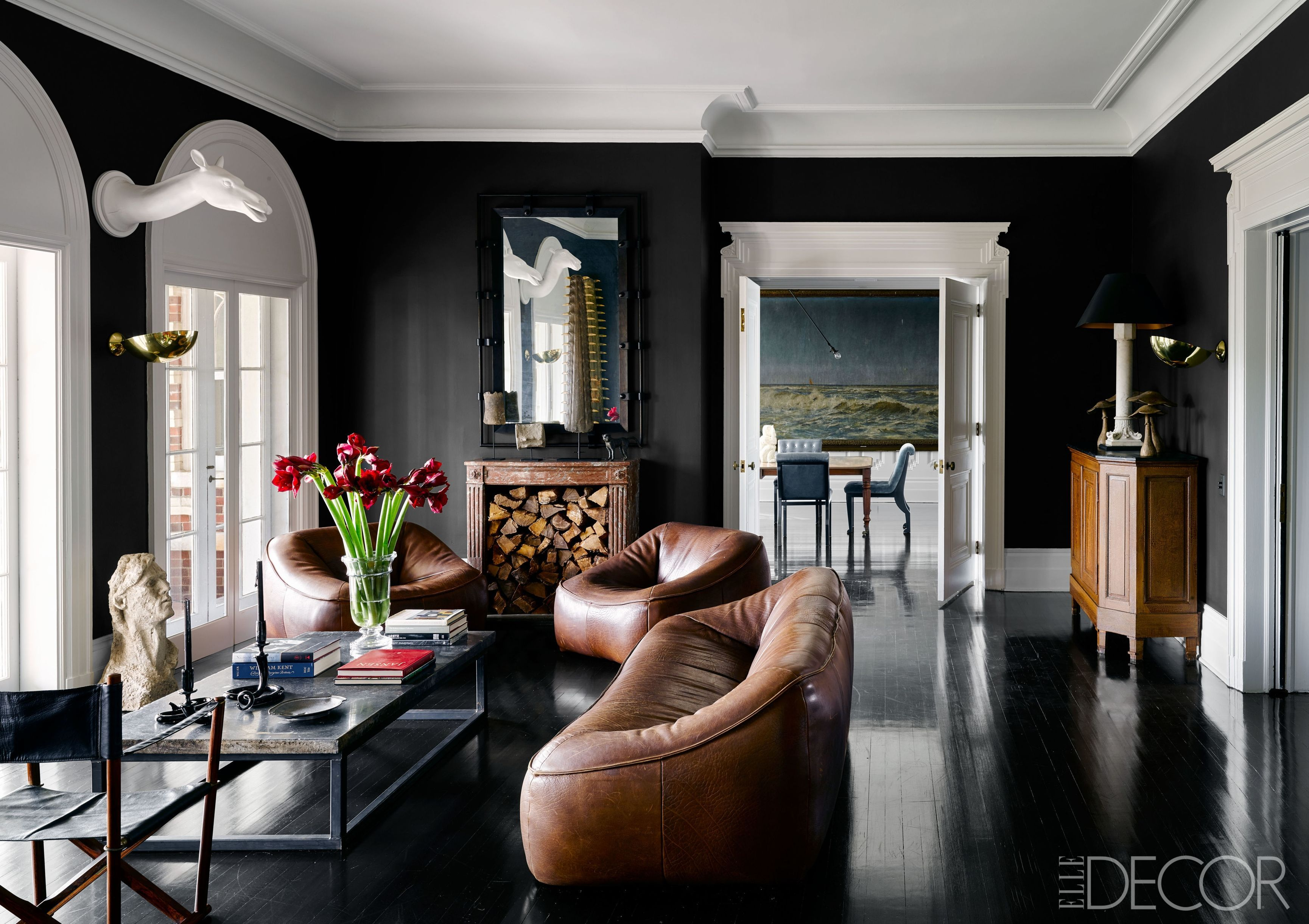 living room decorating with black furniture log burner 35 ideas how to use wall paint decor