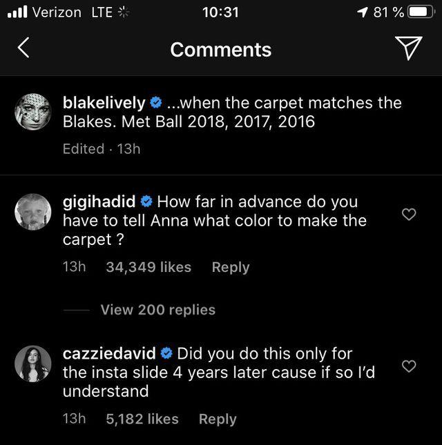 gigi and cazzie's responses to blake's instagram