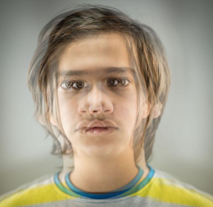 Boy portrait with multiple exposure