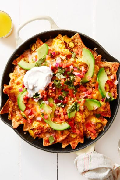 breakfast chilaquiles with avocado