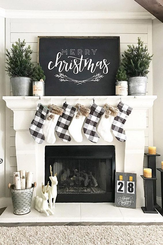 living room mantel decor bench canada 56 christmas decorations ideas for holiday fireplace black and white