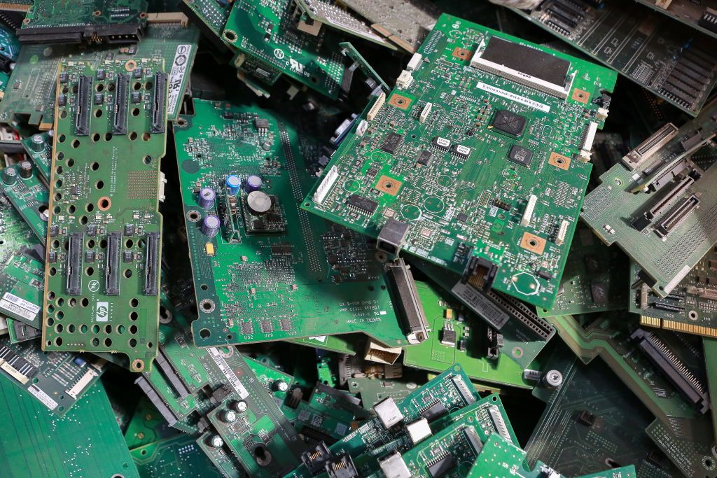 discarded microchips at the recycling plant