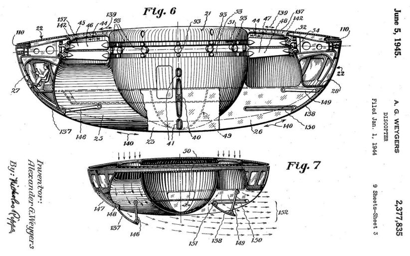 Diseño del primer ovni por Alexander Weygers