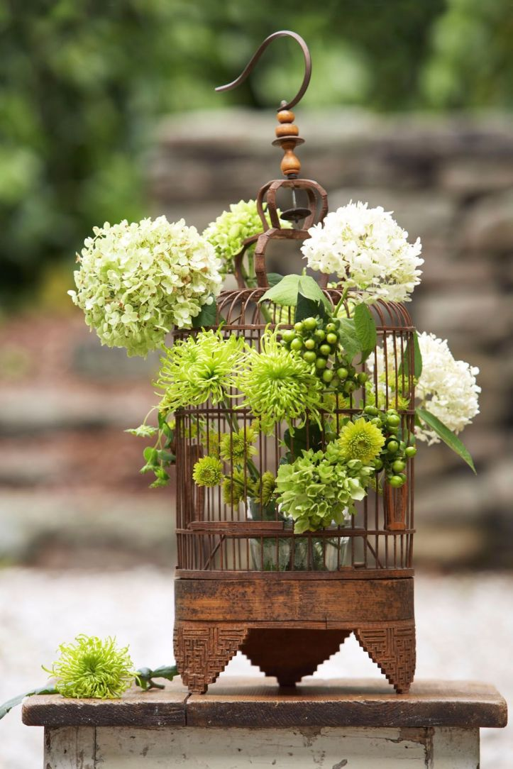 Easter Flowers in Rustic Bird Cage Holder