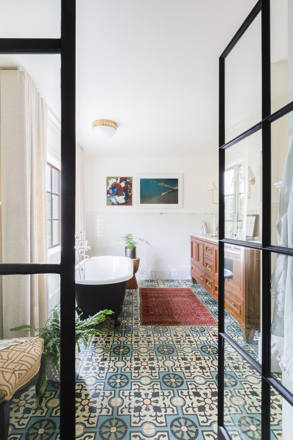 Alyssa Rosenheck Patterned Tile Bathroom