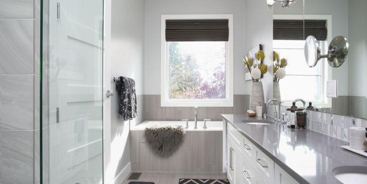 Elegant, modern home showcase interior bathroom
