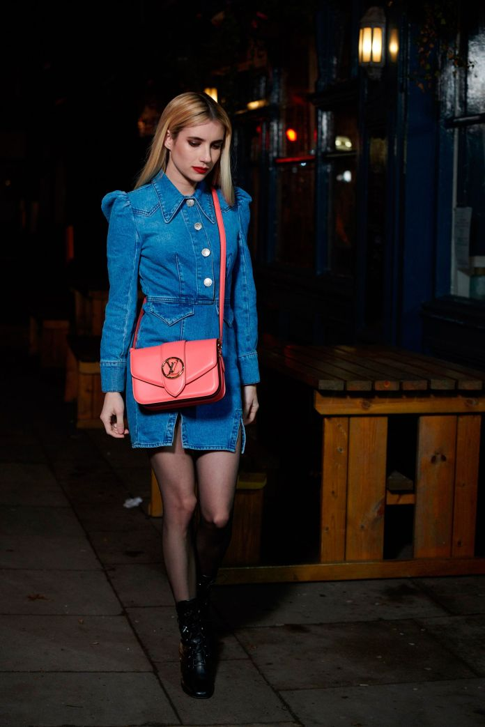 emma roberts with the bag lv pont 9 of louis vuitton