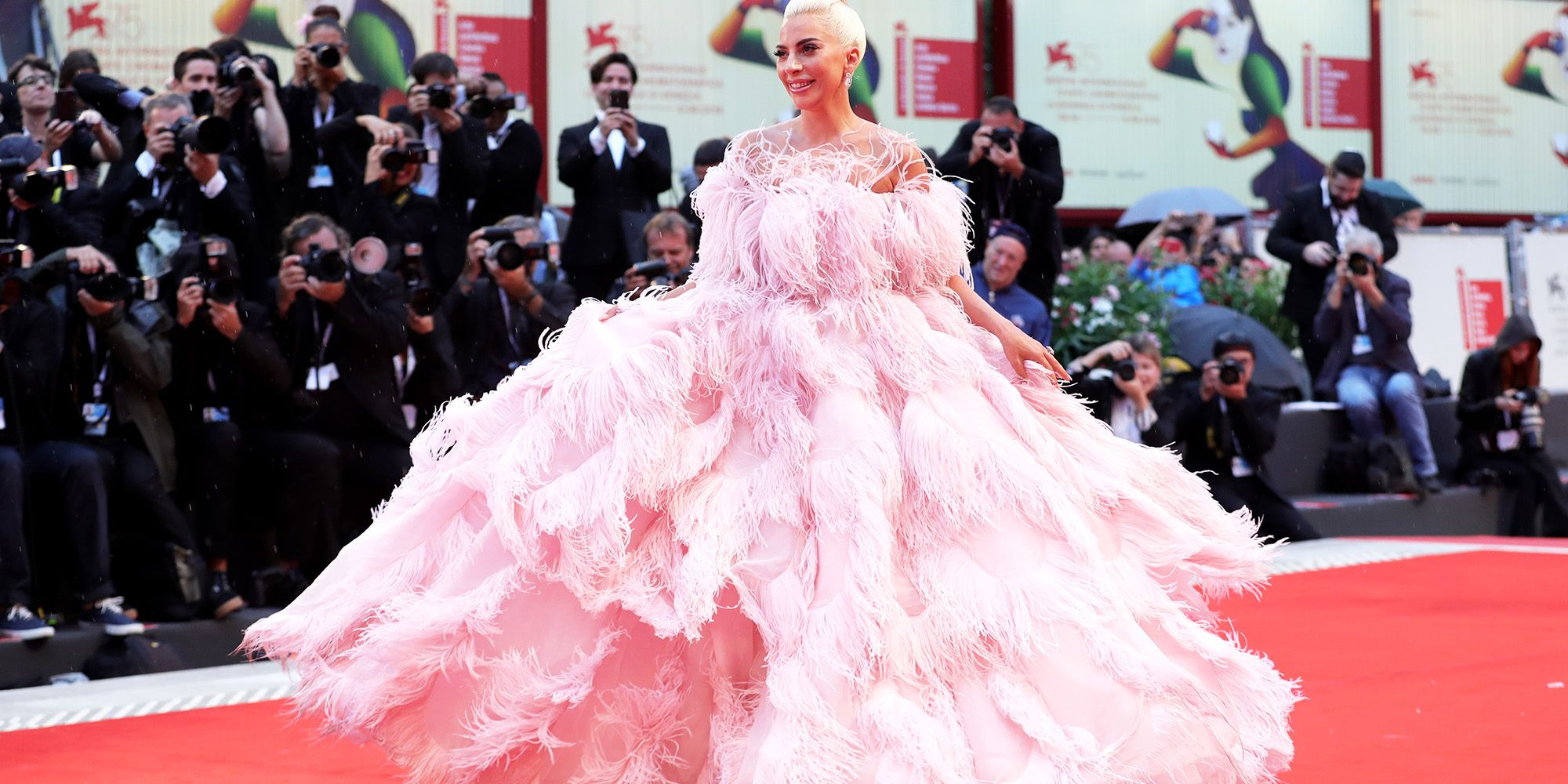 Lady Gaga Wears Giant Pink Gown to Venice Film Festivals