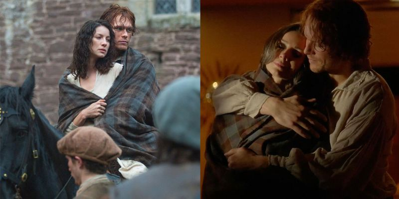 outlander jamie and claire in season 1 left and the season 5 finale right