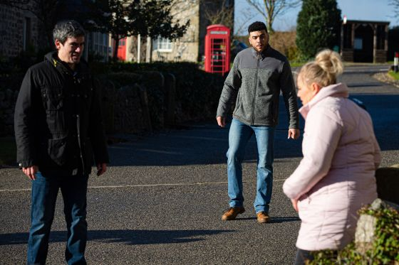 Cain Dingle, Nate Robinson and Tracy Metcalfe in Emmerdale