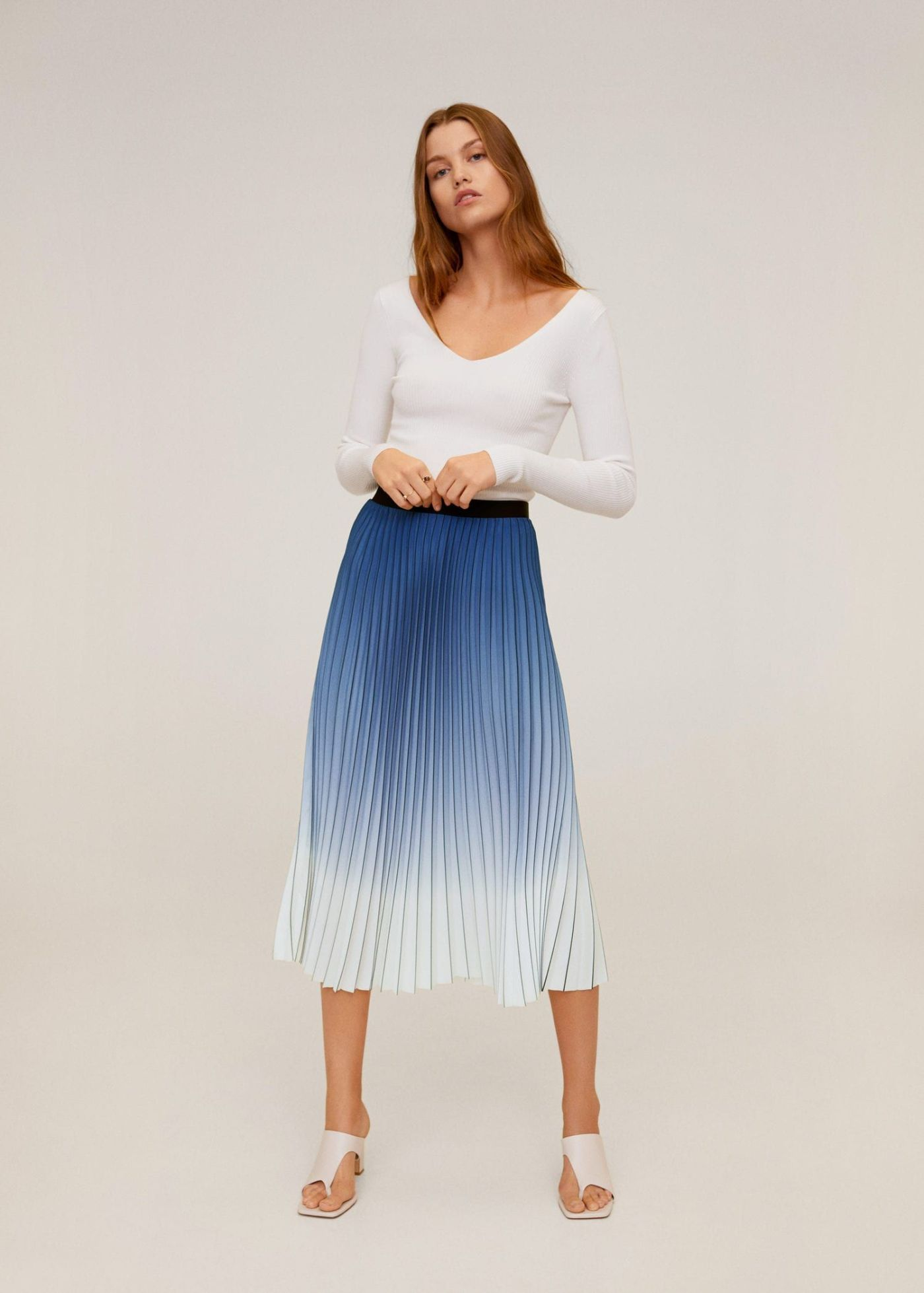 falda plisada de tablas de mango