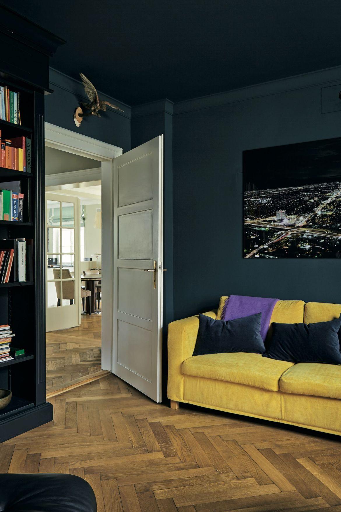 farrow and ball's hague blue, living room