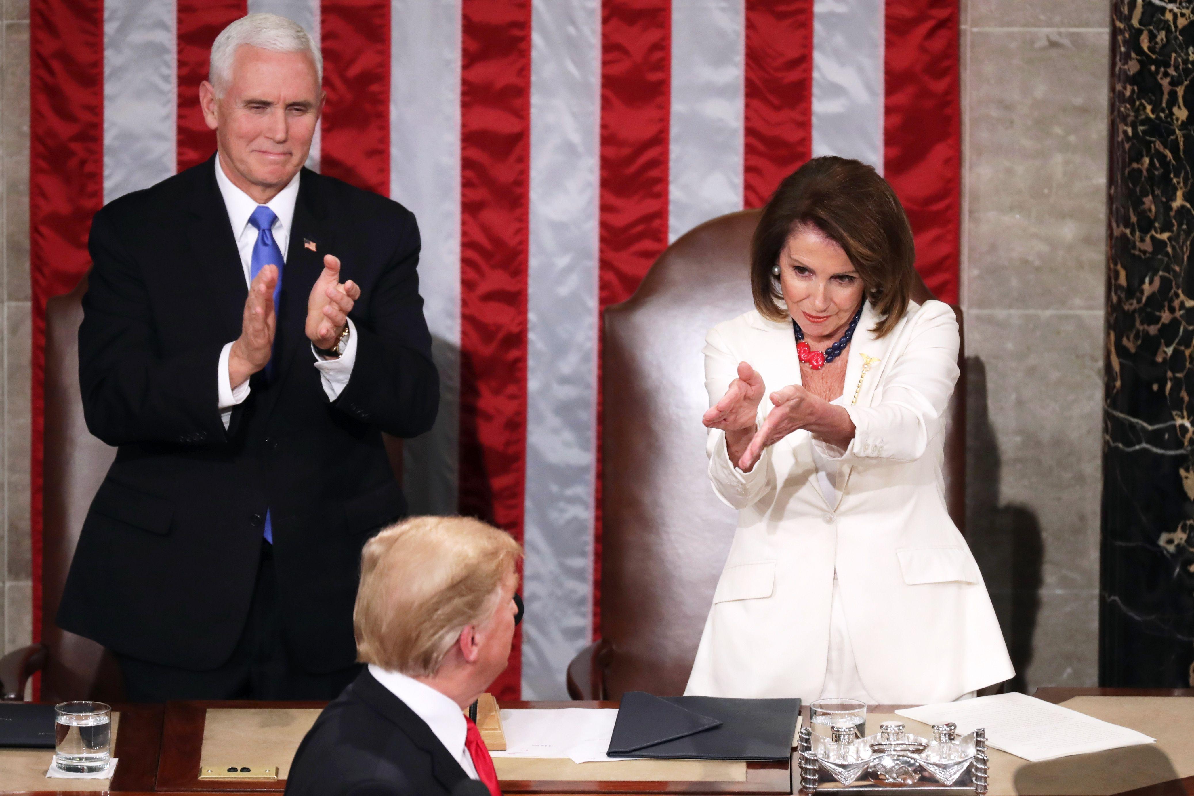 Nancy Pelosi-Donald Trump-Pence