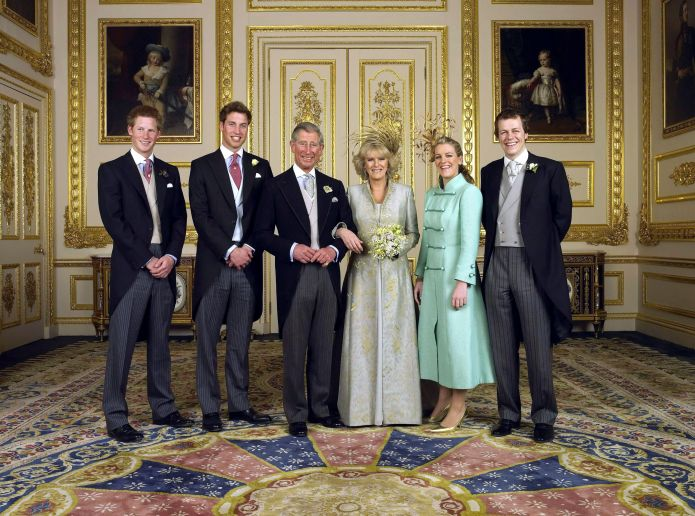 the prince of wales and his new wife camilla, duchess of cornwall, with their children lr prince harry, prince william, laura parker bowles and tom parker bowles, in the white living room of the castle of windsor saturday april 9, 2005, after their photo of ceremony wedding by anwar hussein collectionrotawireimage