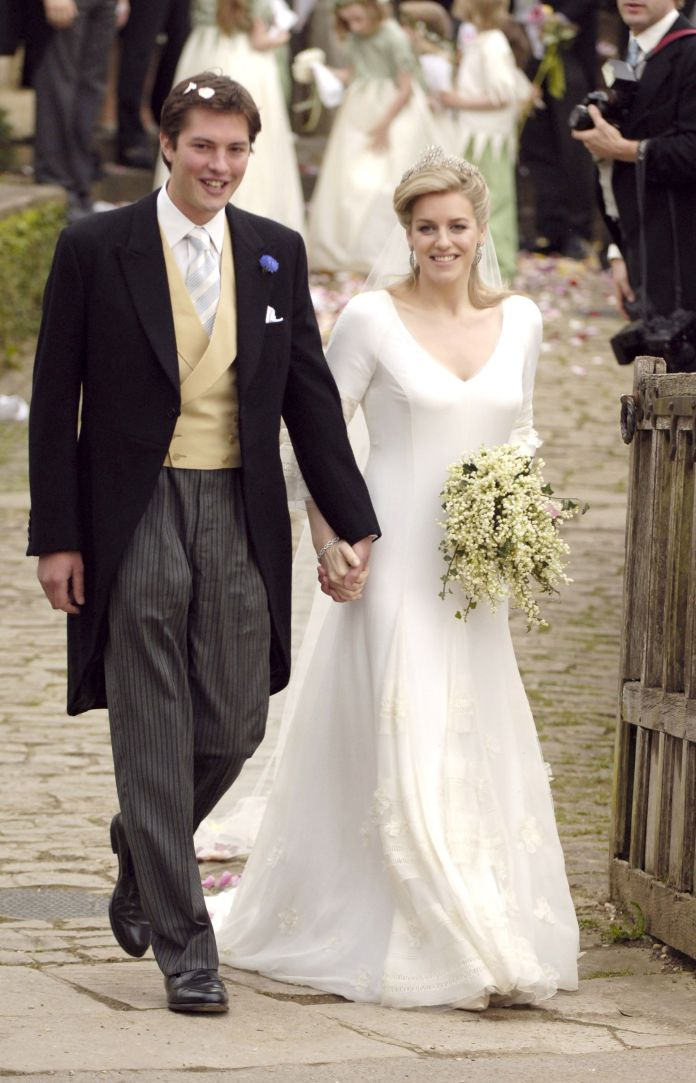 harry lopes and laura parker bowles during laura parker bowles and harry lopes - wedding at st cyriacs church in lacock, great britain photo by tomos brangwynwireimage
