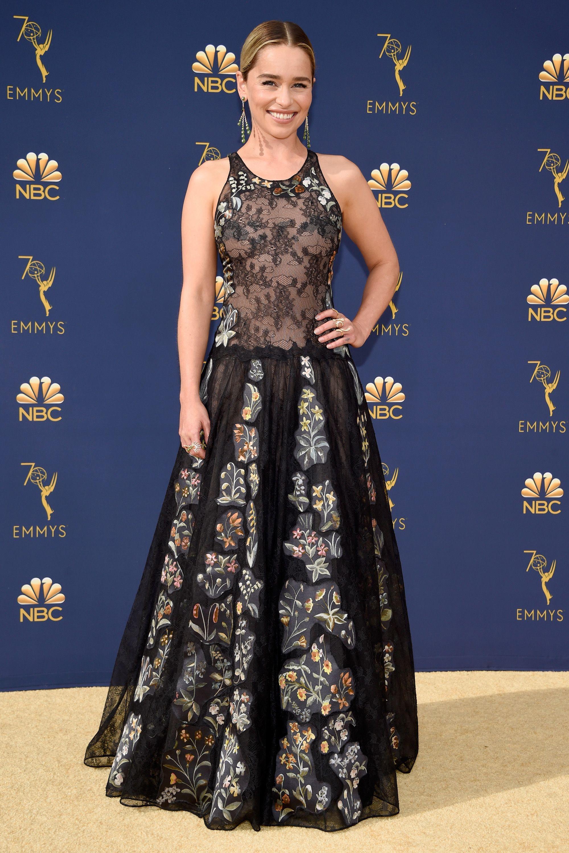Emilia Clarke Wears A Sheer Lace Dior Dress At 2018 Emmy