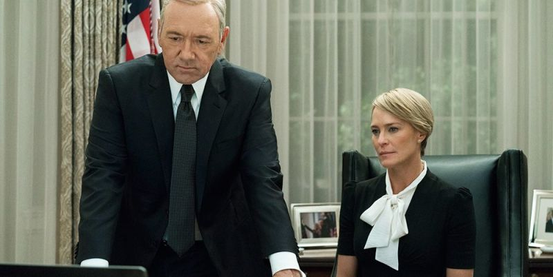 Kevin Spacey as Frank Underwood and Robin Wright as Claire Underwood in House of Cards