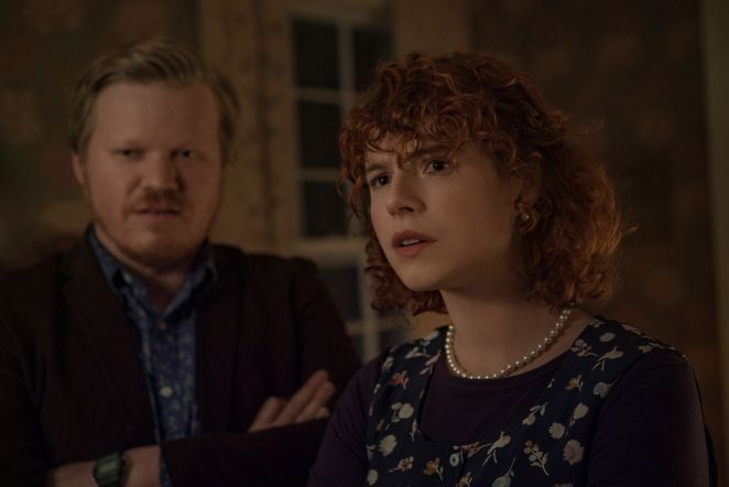 jesse plemons as jake and jessie buckley as young woman in i'm thinking of ending things