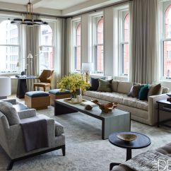 Sofa Arm Table Australia Hamilton Leather Tan Inside A Mid-century Modern Loft In Tribeca By Kevin ...