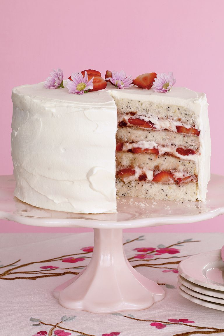 lemon poppy seed cake with strawberries - easter cakes