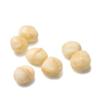 Macadamia nuts on a white background