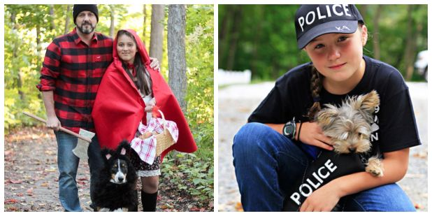 halloween costume couple and dog the halloween costumes