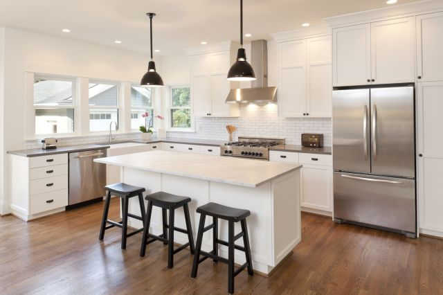 new kitchen in modern luxury home royalty free image 171591165