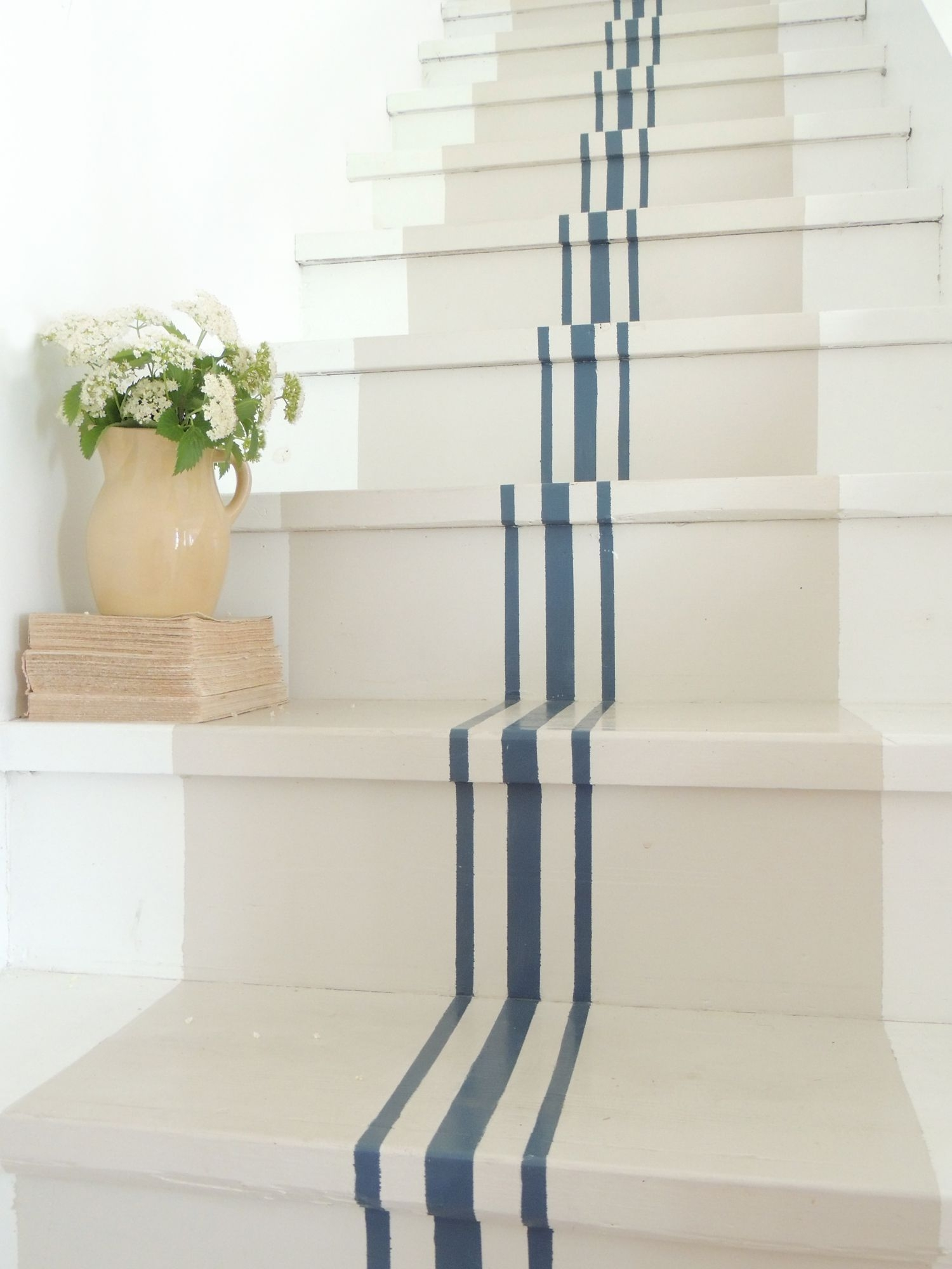 18 Pretty Painted Stairs How To Paint Stair Rails Risers And More   Solid Color Stair Runners   Non Slip   Rectangle   Rubber Backed   Modern Stair   Flooring
