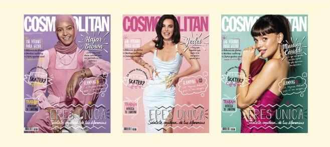 las tres portadas de cosmopolitan julio con jeted, hajar brown y martina cariddi