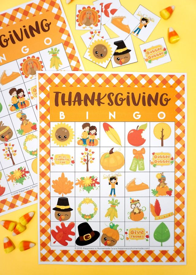 happiness is homemade thanksgiving bingo