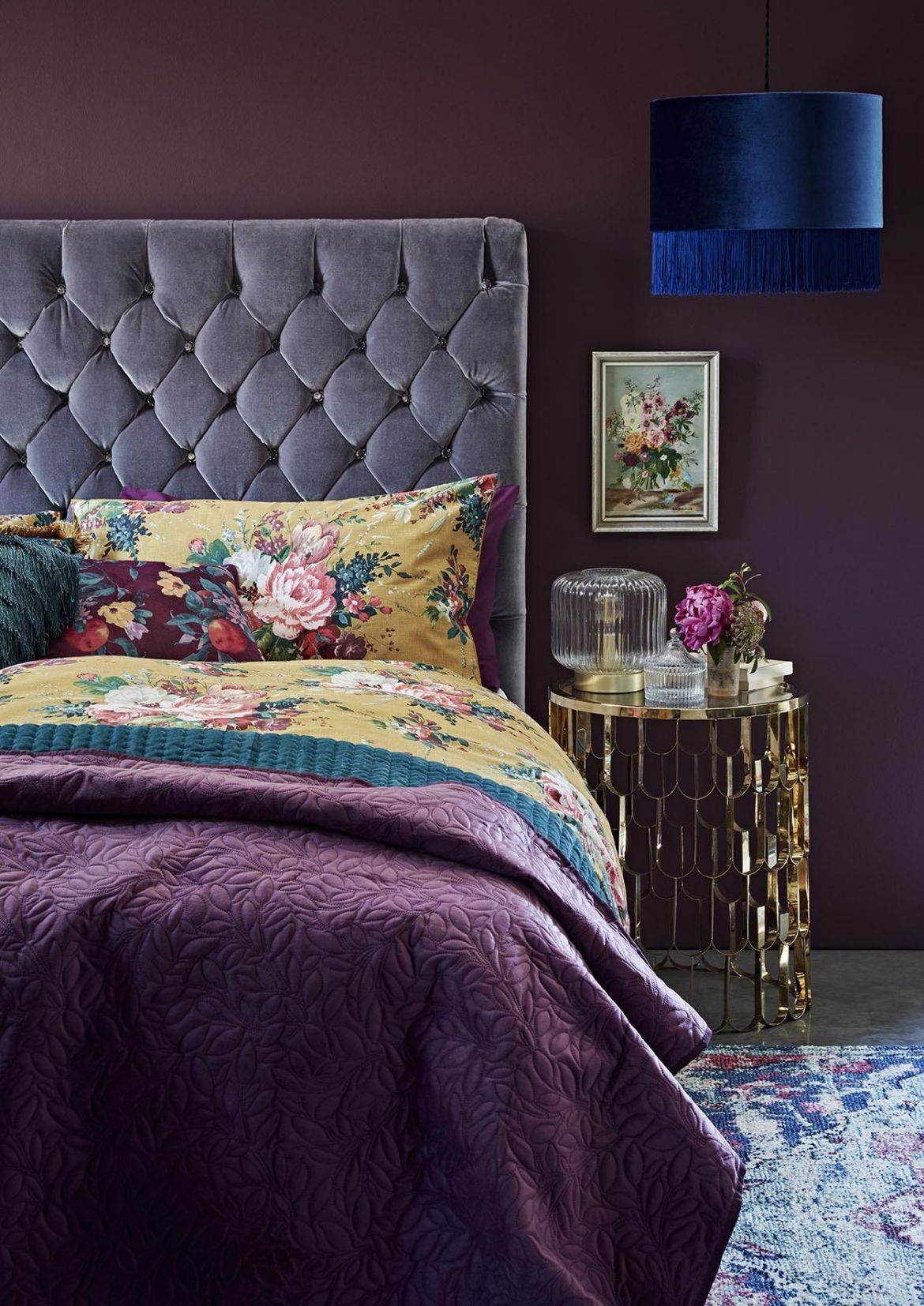 vibrant purple bedroom
