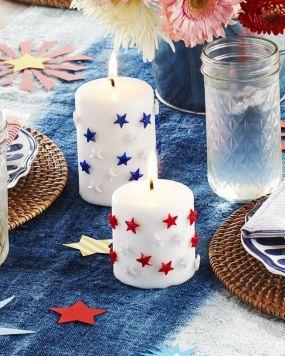 Summer DIY Crafts pushpin pillar candles