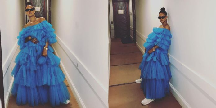 Image result for rihanna blue maxi dress for her make up launch
