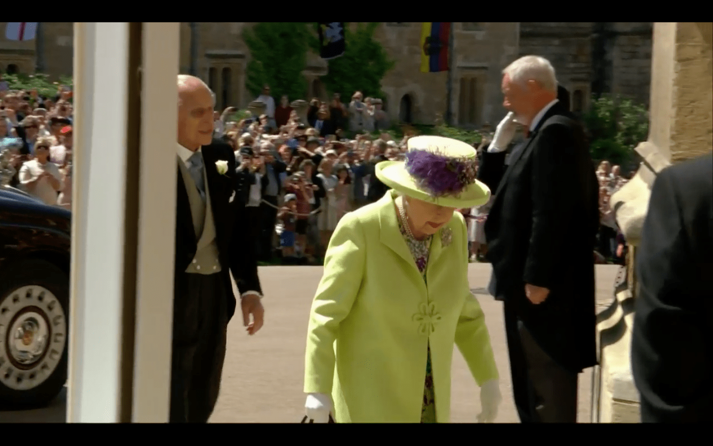 Queen Elizabeth Wore A Lime Green Dress To Prince Harry