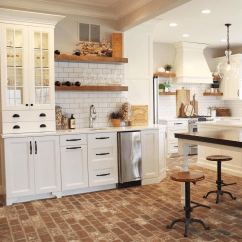 Brick Floor Kitchen Modern White Gloss Cabinets Things To Know Before Installing Floors Miescisko Info Image